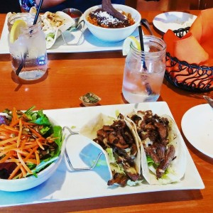 Deliciously colorful tacos at Mojave Grille.