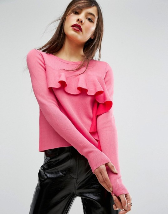 asos-pink-ruffle-sweater